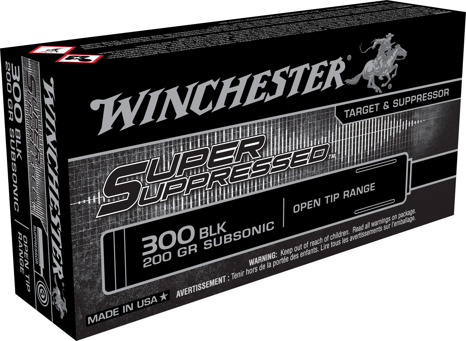 Winchester Ammo SUP300BLK Super Suppressed 300 AAC Blackout/Whisper (7.62x35mm) 200 GR Full Metal Jacket OT 20 Bx/ 10 Cs