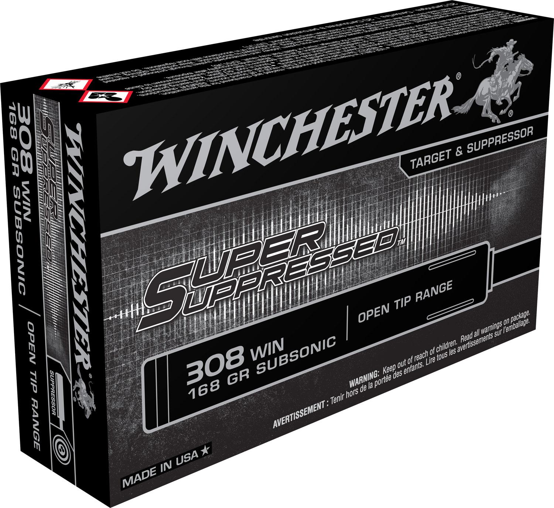 Winchester Ammo SUP308 Super Suppressed 308 Winchester/7.62 NATO 168 GR Full Metal Jacket OT 20 Bx/ 10 Cs