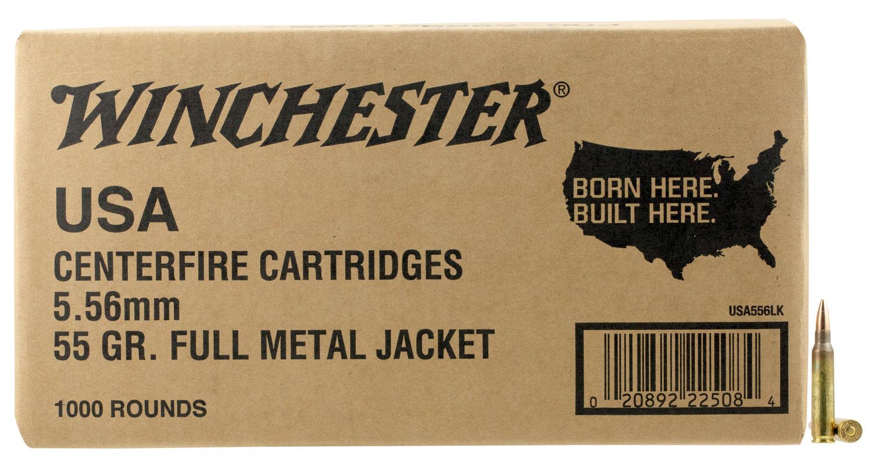 Winchester Ammo USA556LK USA Value Pack 5.56 NATO 55 GR Full Metal Jacket 1000 Bx/ 2 Cs
