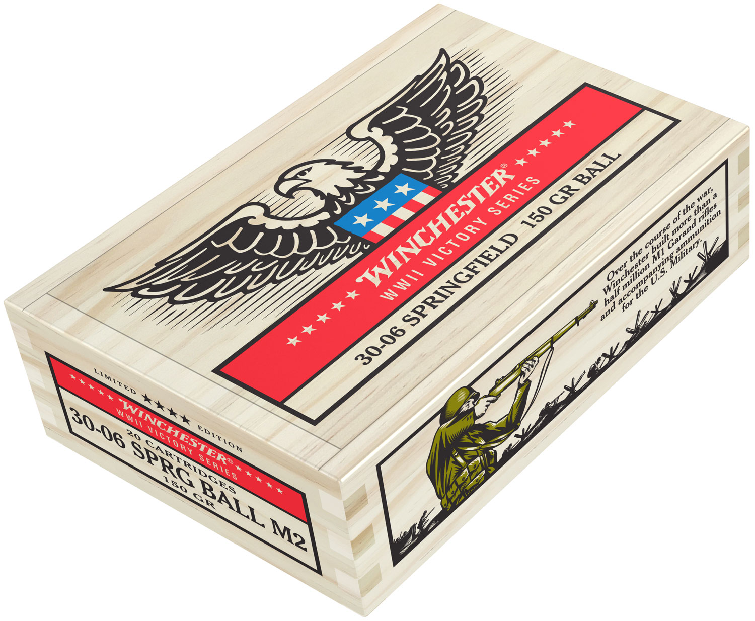 Winchester Ammo X3006WW2 WWII Victory Series 30-06 Springfield 150 GR Flat Base 20 Bx/ 5 Cs