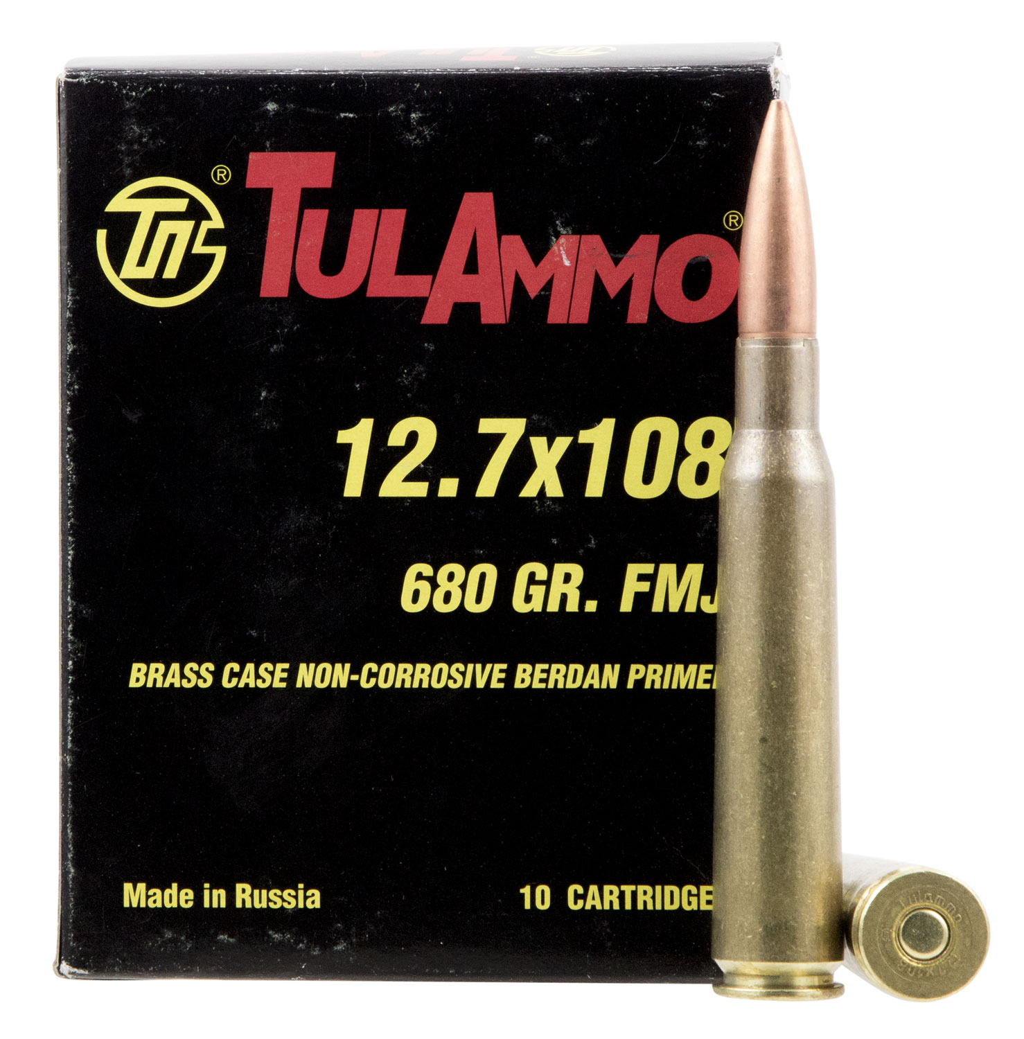 Tulammo TA127101 Centerfire Rifle 12.7x108mm 680 GR Full Metal Jacket 10 Bx/ 6 Cs