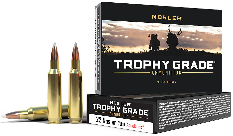 Nosler 60918 Trophy Grade 22 Nosler 70 GR AccuBond 20 Bx/ 20 Cs