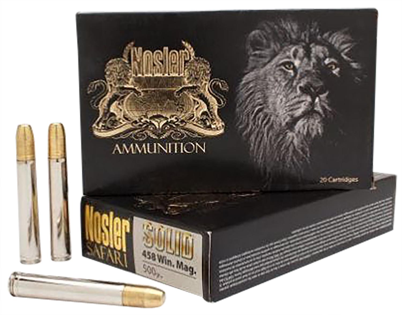 Nosler 40630 Safari 458 Lott 500 GR Nosler Solid 20 Bx/ 10 Cs