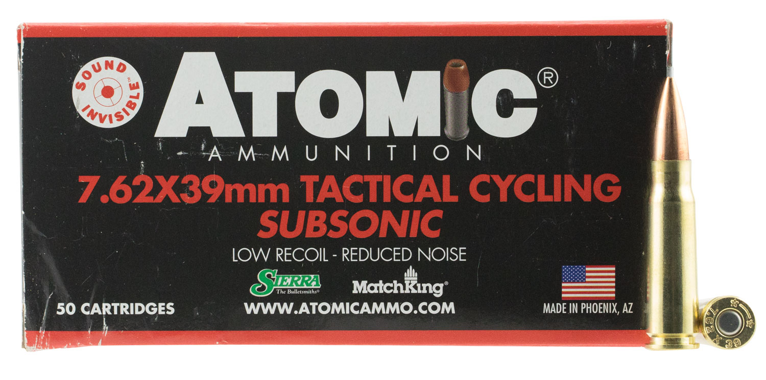 Atomic 00474 Tactical Cycling Subsonic 7.62x39mm 220 GR Hollow Point Boat Tail 50 Bx/ 10 Cs