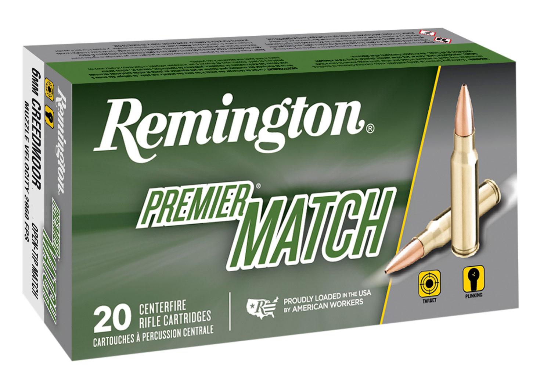 Remington Ammunition RM6CM01 Premier Match 6mm Creedmoor 115 GR Open Tip Match Boat Tail 20 Bx/ 10 Cs