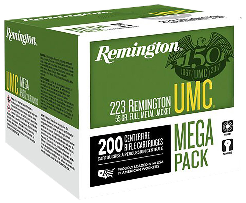 Remington Ammunition L223R3A UMC 223 Remington/5.56 NATO 55 GR Metal Case (FMJ) 200 Bx/ 4 Cs