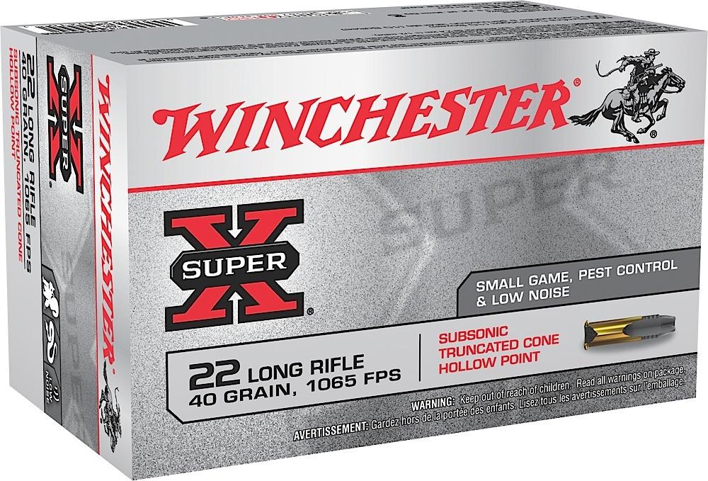 Winchester Ammo X22LRSUBA Super-X 22 Long Rifle 40 GR Truncated Cone Hollow Point 50 Bx/60 Cs