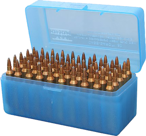 MTM Case-Gard RLLD-50-24 Case-Gard R-50 Multi-Caliber Rifle Clear Blue Polypropylene 50rd