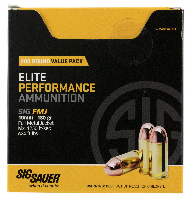 Sig Sauer E10MB1200 Elite Ball 10mm Automatic 180 GR Full Metal Jacket 200 Bx/  Cs