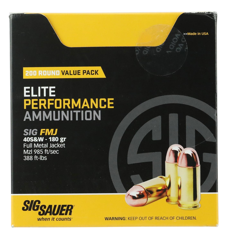 Sig Sauer E40SB2200 Elite Ball 40 Smith & Wesson (S&W) 180 GR Full Metal Jacket 200 Bx/  Cs