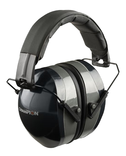 Champion Targets 40970 Passive Muff  27 dB Over the Head Black Ear Cups with Padded, Adjustable Black Headband & Gray Accents for Adults