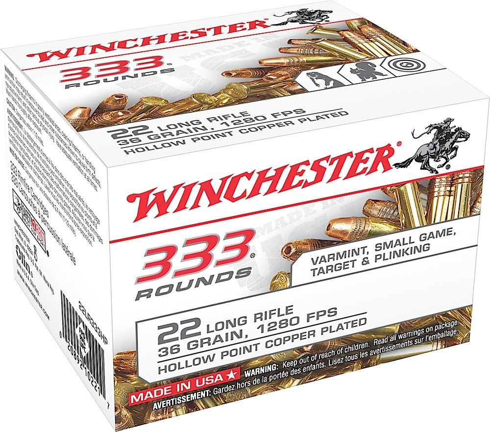 Winchester Ammo 22LR333HP 333 Rounds 22 Long Rifle 36 GR Copper-Plated Hollow Point 333 Bx/10 Cs 3330 Rds Total