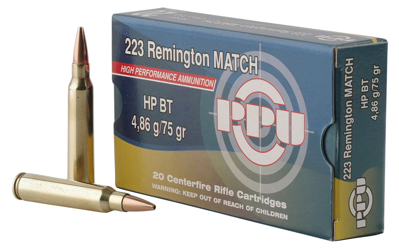 PPU PPM2232 Match 223 Remington/5.56 NATO 75 GR Hollow Point Boat Tail 20 Bx/ 50 Cs