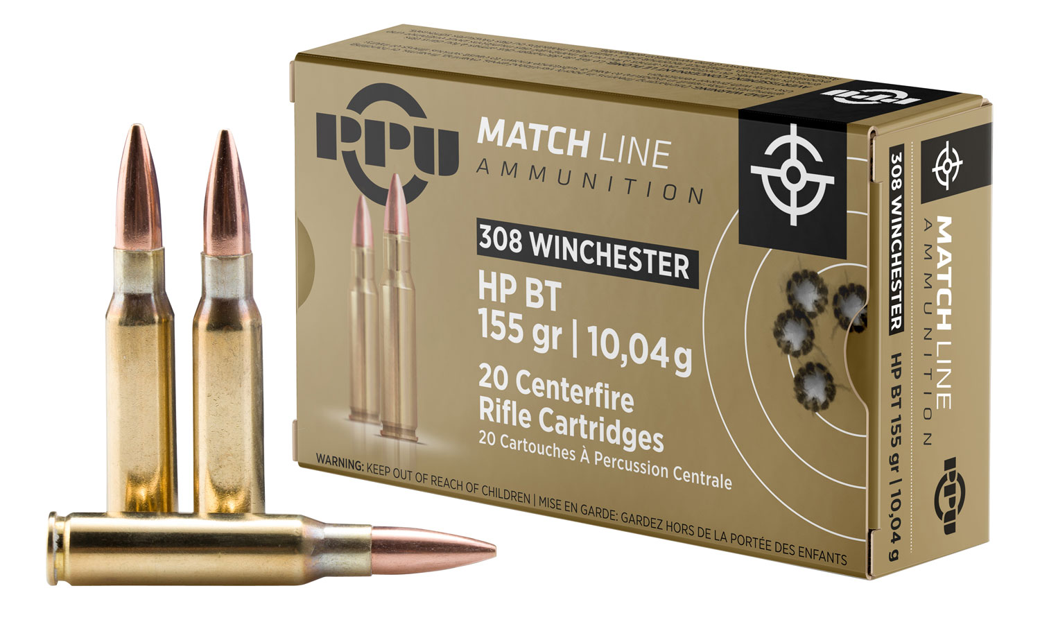 PPU PPM3081 Match 308 Winchester/7.62 NATO 155 GR Hollow Point Boat Tail 20 Bx/ 10 Cs