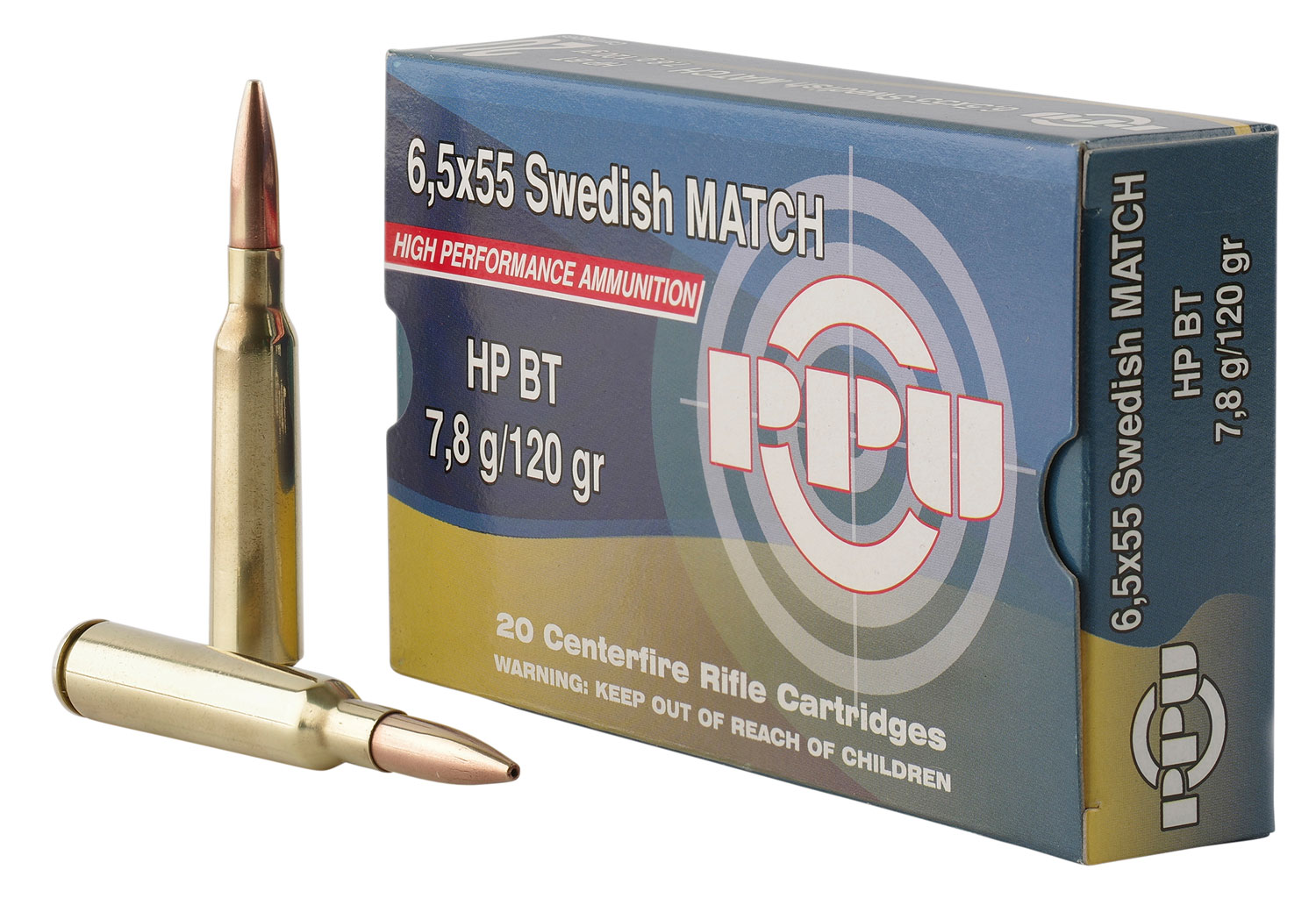 PPU PPM6 Match 6.5x55 Swedish 120 GR Hollow Point Boat Tail 20 Bx/ 10 Cs