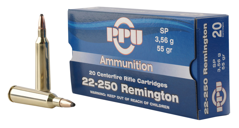 PPU PP22250 Standard Rifle 22-250 Remington 55 GR Soft Point 20 Bx/ 10 Cs