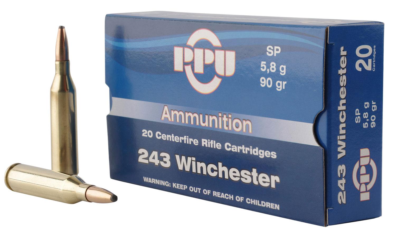 PPU PP2431 Standard Rifle 243 Winchester 90 GR Soft Point 20 Bx/ 10 Cs