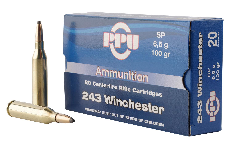 PPU PP2432 Standard Rifle 243 Winchester 100 GR Soft Point 20 Bx/ 10 Cs