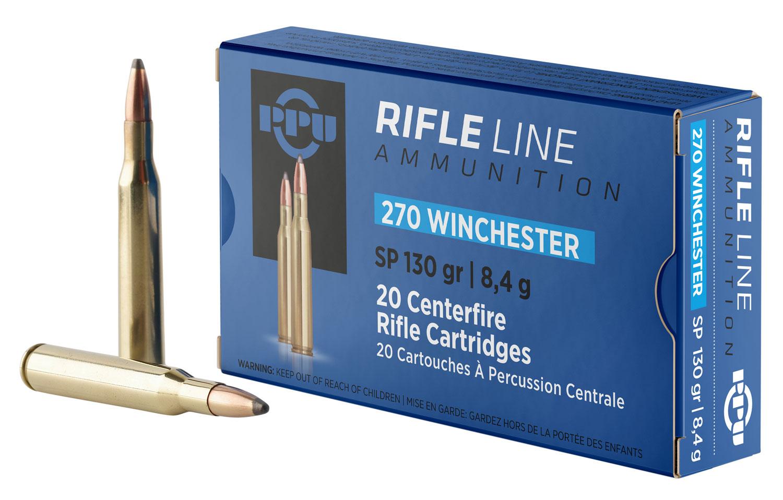 PPU PP2701 Standard Rifle 270 Winchester 130 GR Soft Point 20 Bx/ 10 Cs