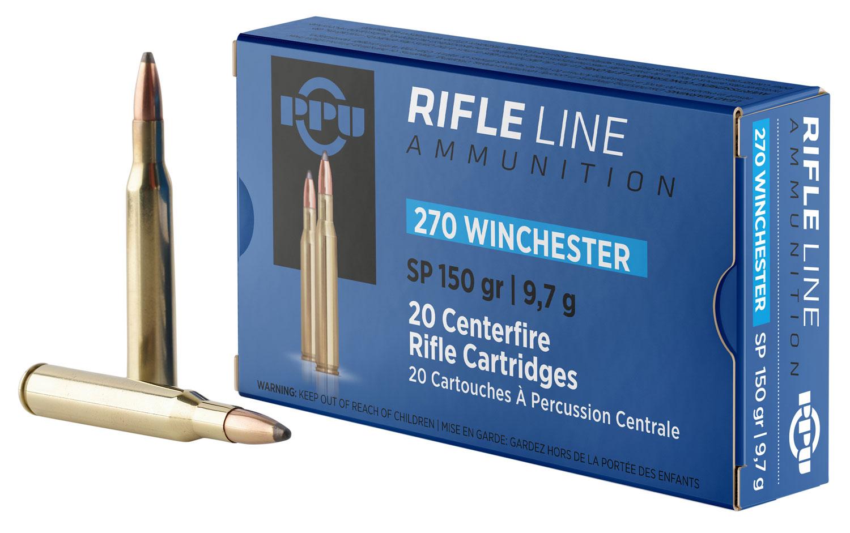 PPU PP2702 Standard Rifle 270 Winchester 150 GR Soft Point 20 Bx/ 10 Cs