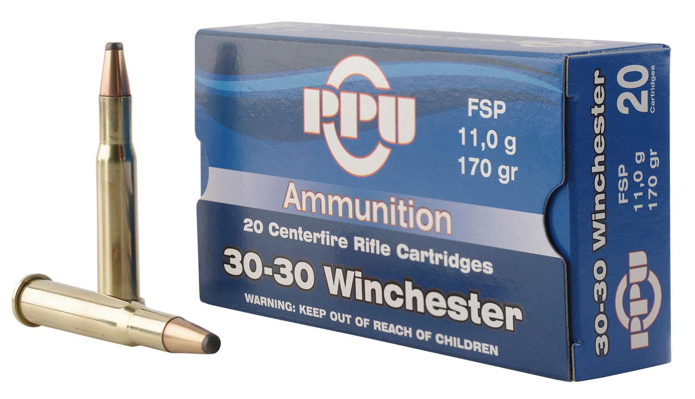 PPU PP30302 Standard Rifle 30-30 Winchester 170 GR Flat Soft Point 20 Bx/ 10 Cs