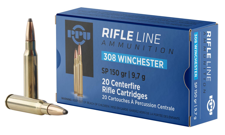 PPU PP3081 Standard Rifle 308 Winchester/7.62 NATO 150 GR Soft Point 20 Bx/ 10 Cs