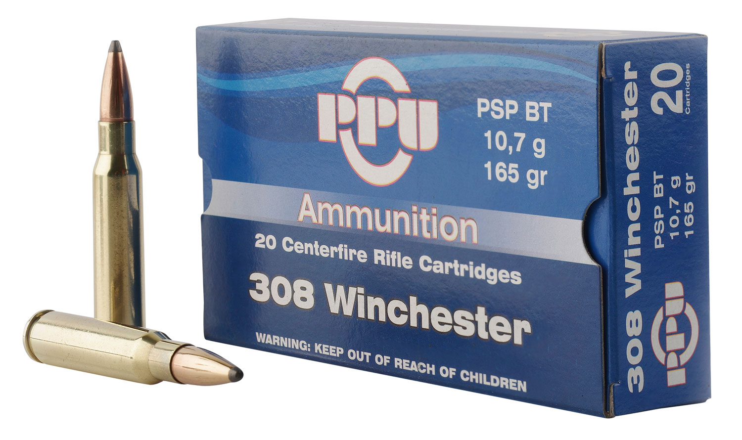 PPU PP3082 Standard Rifle 308 Winchester/7.62 NATO 165 GR Pointed Soft Point Boat Tail 20 Bx/ 10 Cs