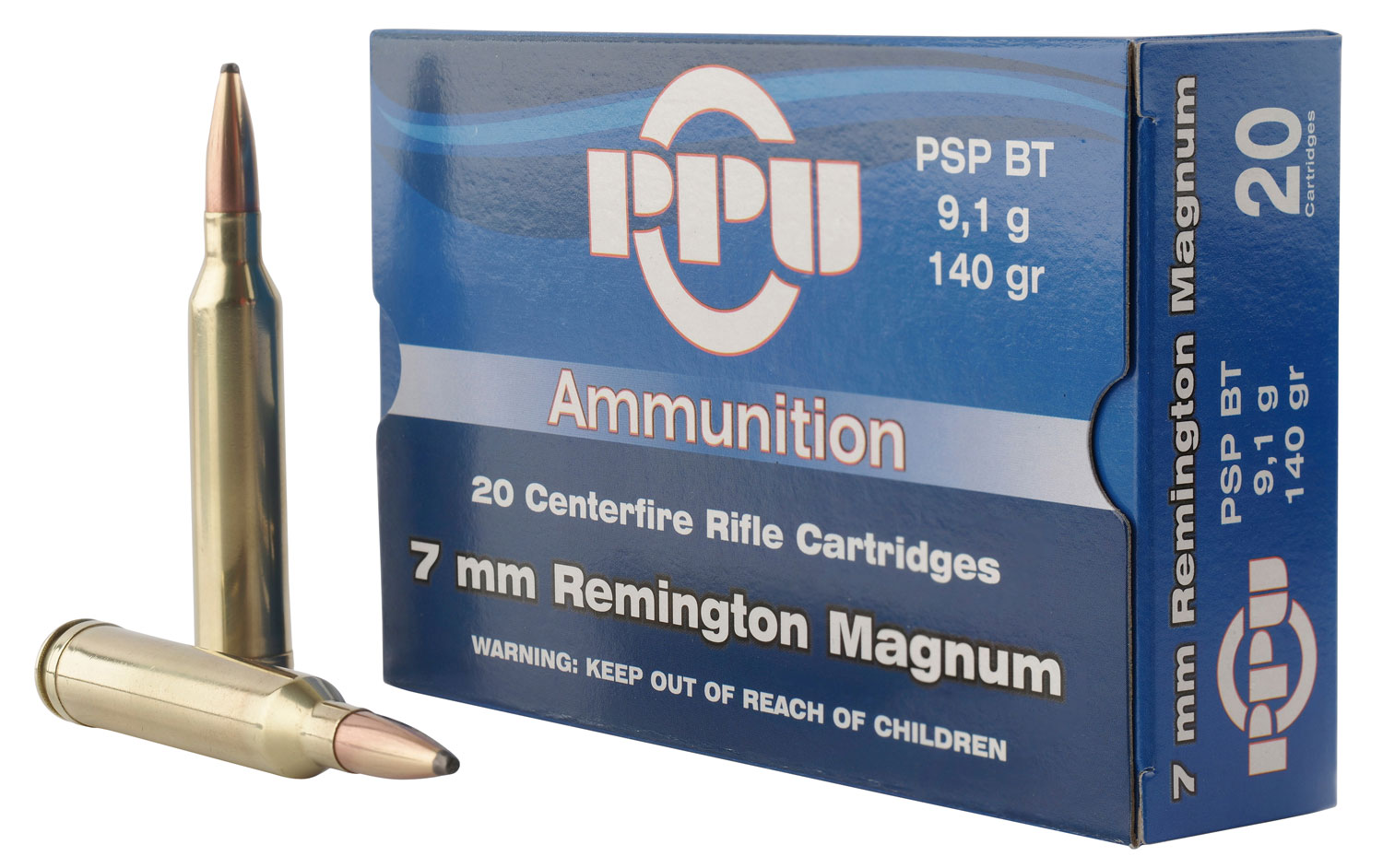 PPU PP3081 Standard Rifle 7mm Remington Magnum 140 GR Pointed Soft Point 20 Bx/ 10 Cs
