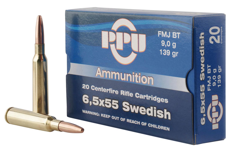 PPU PP30062 Metric Rifle 6.5x55 Swedish 139 GR Full Metal Jacket 20 Bx/ 10 Cs