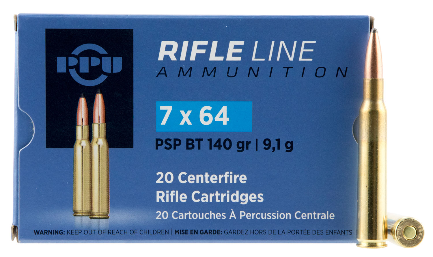 PPU PP303S2 Metric Rifle 7x64mm Brenneke 140 GR Pointed Soft Point Boat Tail 20 Bx/ 10 Cs