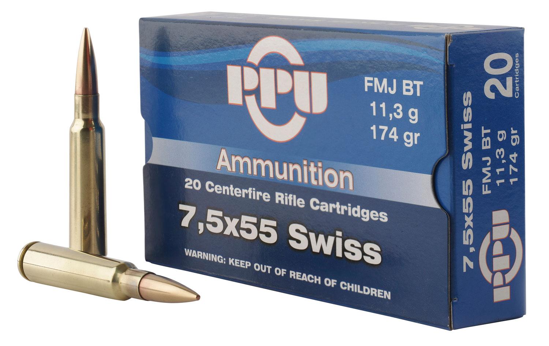 PPU PP338F Metric Rifle 7.5x55mm Swiss 174 GR Full Metal Case 20 Bx/ 10 Cs