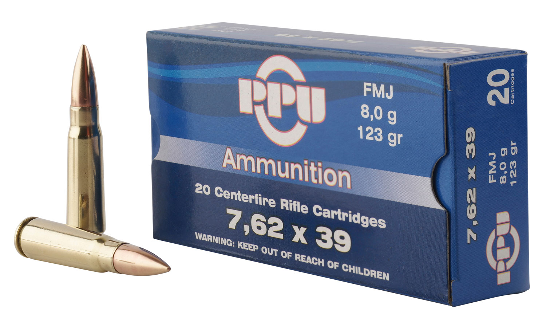 PPU PP338H Metric Rifle 7.62x39mm 123 GR Full Metal Case 20 Bx/ 50 Cs
