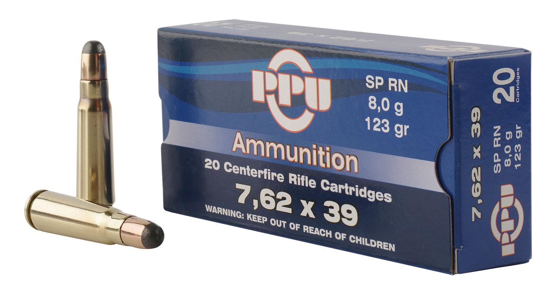PPU PP375F Metric Rifle 7.62x39mm 123 GR Soft Point 20 Bx/ 50 Cs