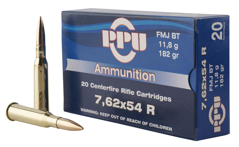 PPU PP76254F Metric Rifle 7.62x54mm Russian 182 GR Full Metal Jacket 20 Bx/ 10 Cs