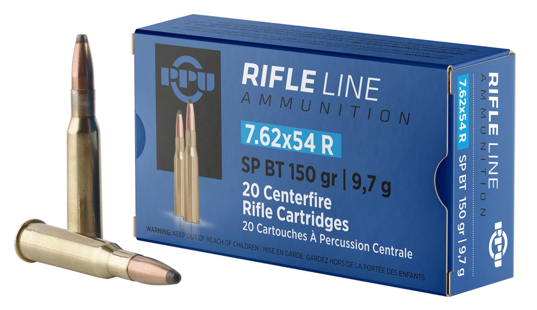 PPU PP76254S Metric Rifle 7.62x54mm Russian 150 GR Soft Point 20 Bx/ 10 Cs