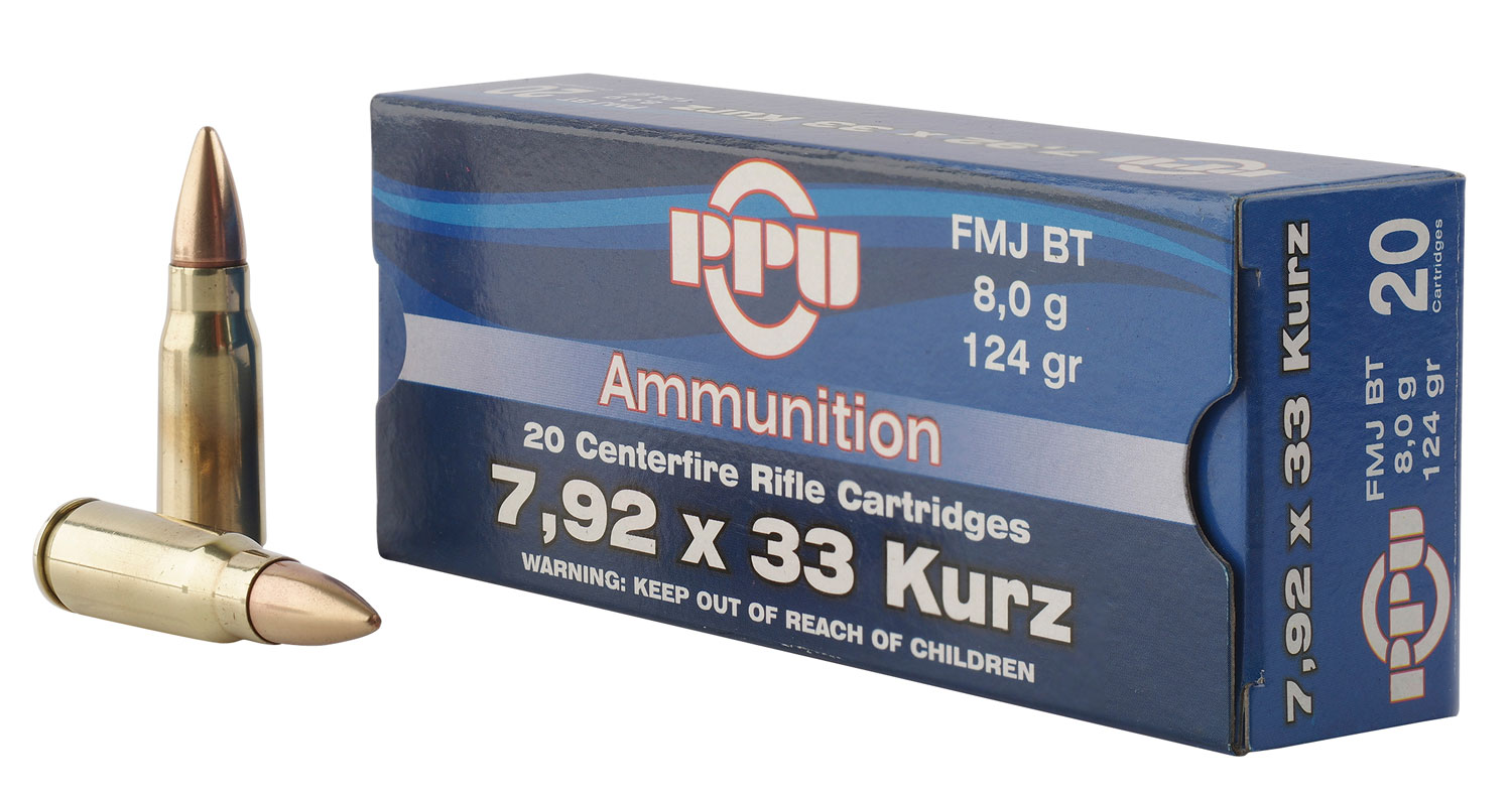 PPU PP7K Metric Rifle 7.9x33mm Kurz 124 GR Full Metal Jacket 20 Bx/ 10 Cs