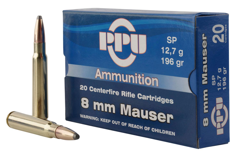 PPU PP8S Metric Rifle 8mm Mauser 196 GR Soft Point 20 Bx/ 10 Cs