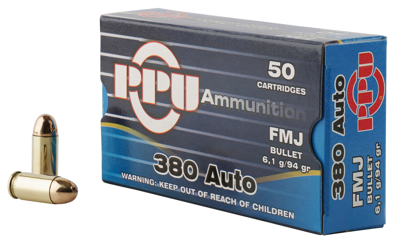 PPU PPH380AF Handgun 380 Automatic Colt Pistol (ACP) 94 GR Full Metal Jacket 50 Bx/ 20 Cs
