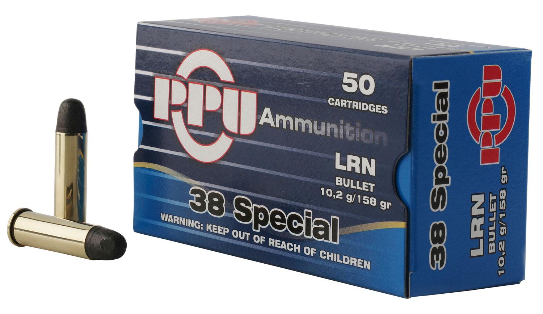 PPU PPH38SL Handgun 38 Special 158 GR Lead Round Nose 50 Bx/ 10 Cs