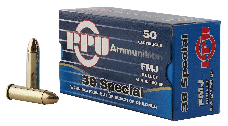 PPU PPH38SF Handgun 38 Special 130 GR Full Metal Jacket 50 Bx/ 10 Cs