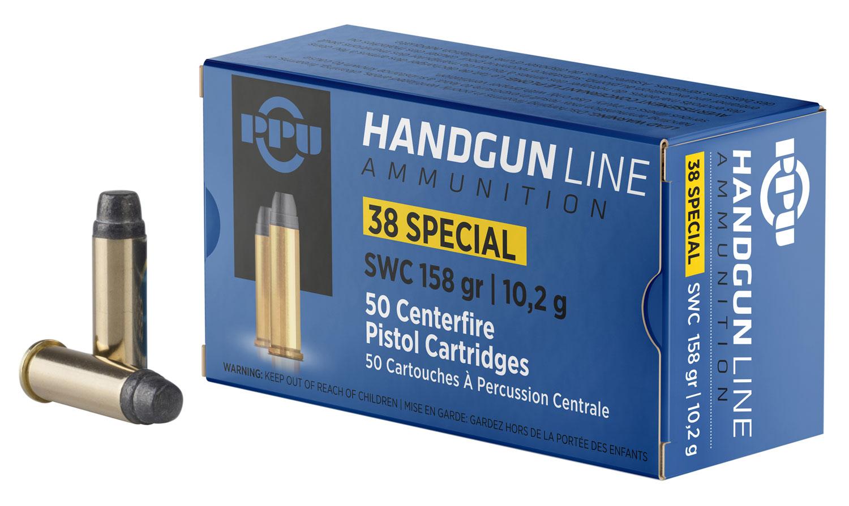 PPU PPH38SS Handgun 38 Special 158 GR Semi-Wadcutter 50 Bx/ 10 Cs