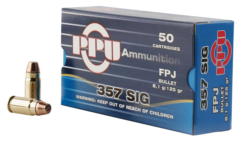 PPU PPH357S Handgun 357 Sig 125 GR Flat Point Jacketed 50 Bx/ 20 Cs