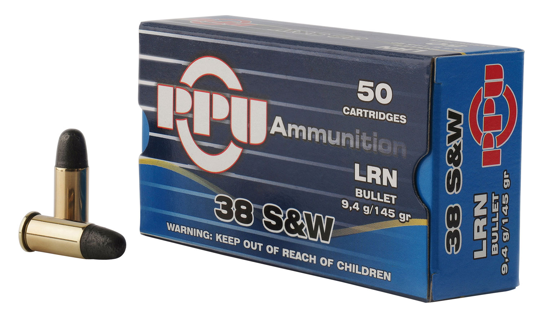 PPU PPH38SW Handgun 38 Smith & Wesson (S&W) 145 GR Lead Round Nose 50 Bx/ 20 Cs