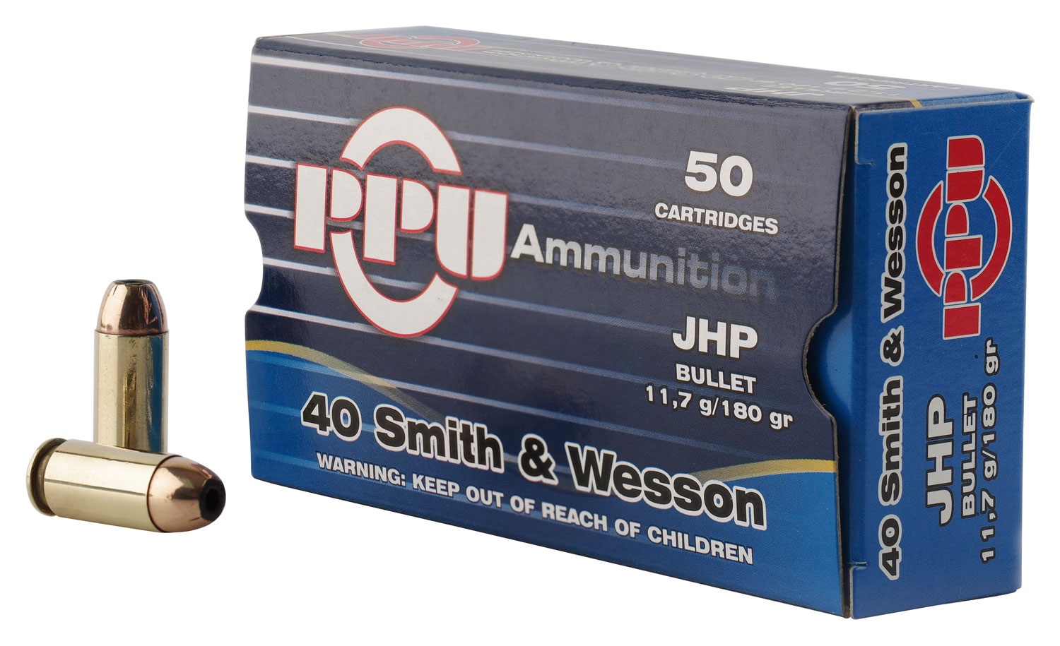 PPU PPR4.01 Handgun 40 Smith & Wesson (S&W) 180 GR Jacketed Hollow Point 50 Bx/ 10 Cs