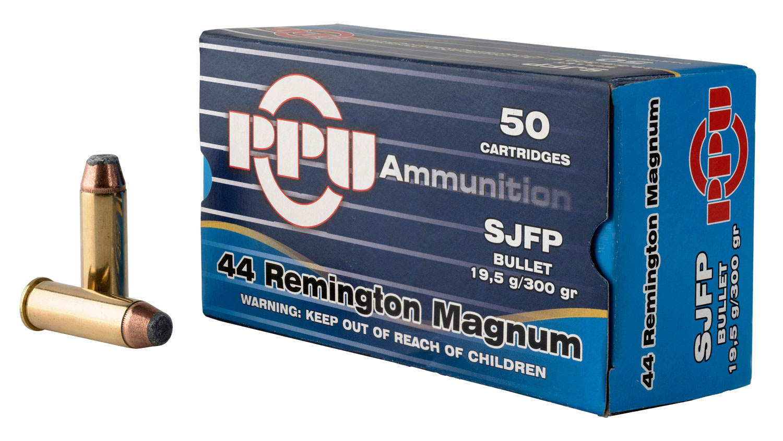 PPU PPH44MF Handgun 44 Remington Magnum 300 GR Semi-Jacketed Flat Point 50 Bx/ 10 Cs