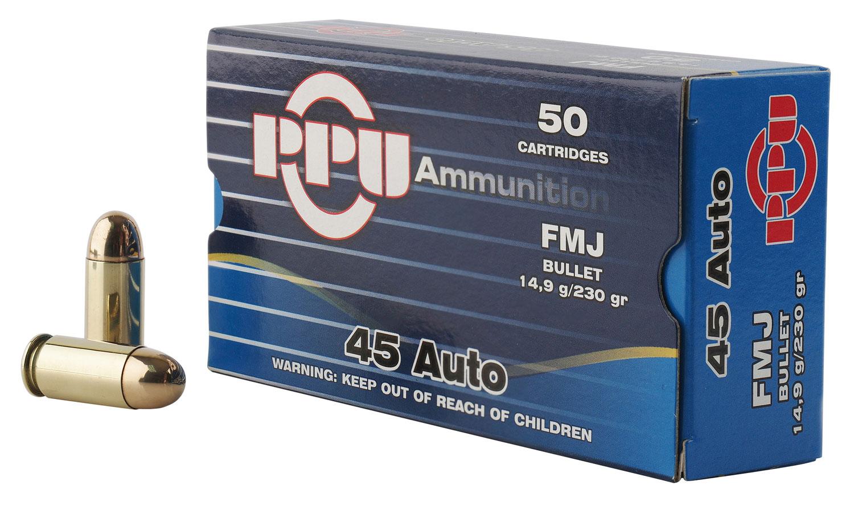PPU PPH45F Handgun 45 Automatic Colt Pistol (ACP) 230 GR Full Metal Jacket 50 Bx/ 10 Cs