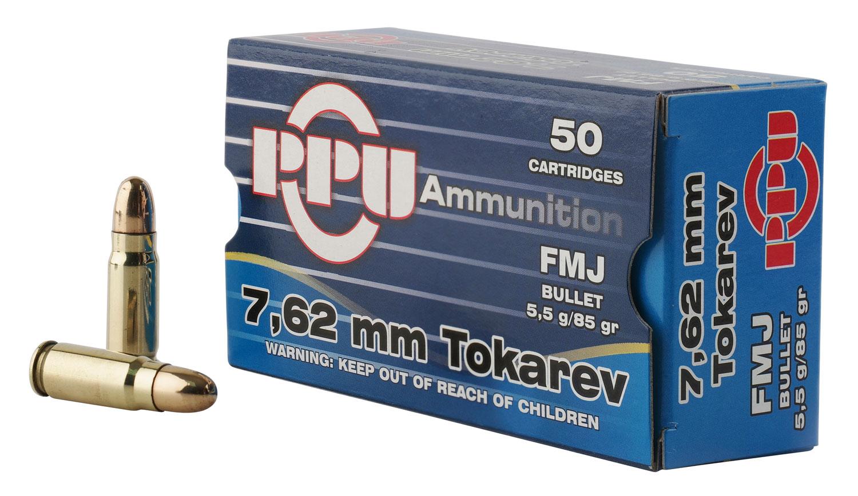 PPU PPH7TF Handgun 7.62x25mm Tokarev 85 GR Full Metal Jacket 50 Bx/ 10 Cs