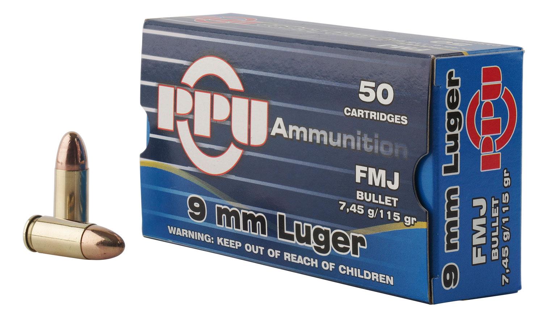 PPU PPH9F1 Handgun 9mm Luger 115 GR Full Metal Jacket 50 Bx/ 20 Cs
