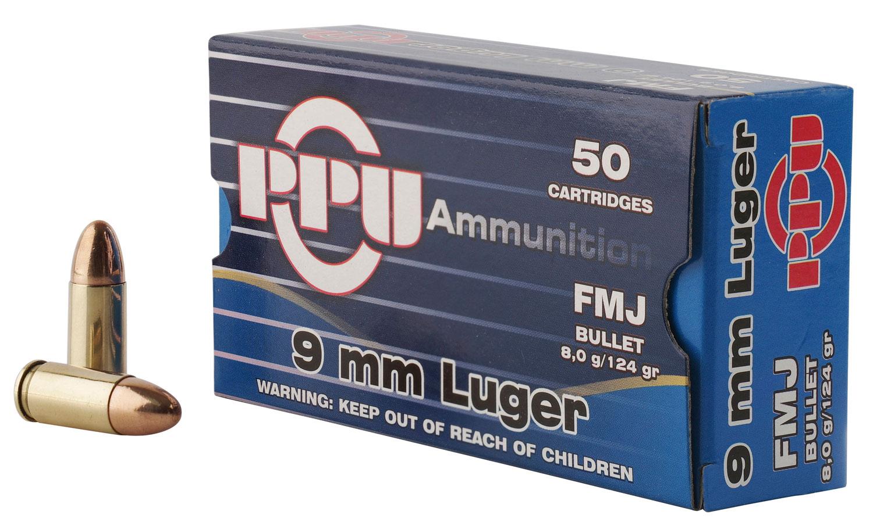 PPU PPH9F2 Handgun 9mm Luger 124 GR Full Metal Jacket 50 Bx/ 20 Cs