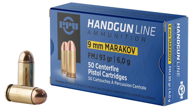 PPU PPH9MF Handgun 9x18 Makarov 93 GR Full Metal Jacket 50 Bx/ 20 Cs